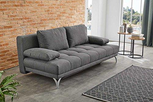 lifestyle4living Schlafsofa in Grau, 2-Sitzer Sofa mit Schlaffunktion, Microfaser-Stoff, Wellenunterfederung | Gemütliche Schlafcouch in modernem Design