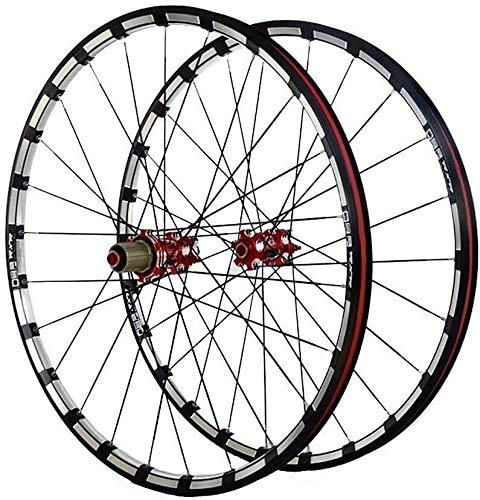 LILIS Ruedas De Bicicleta,Llantas Bicicleta Rueda de Bicicleta de 26/27,5 Pulgadas Juego de Ruedas de Bicicletas MTB de Doble Pared de Llantas de Aluminio fresado trilateral Hub de Carbono del Freno