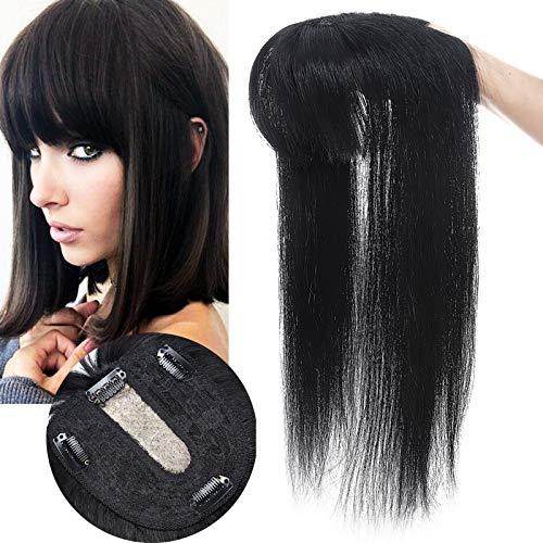 Volumateur Capillaire Femme Naturel Avec Frange Toupet Cheveux Humain [#01 Noir foncé] - Extension a Clip Silk Base - 30 cm