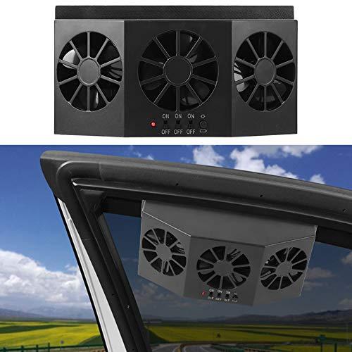 Bicaquu Car Ventilator, Solar Powered Black Portable Car Cooling Fan, Car Solar Fan, for Car Ventilator