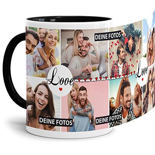Tasse mit Spruch Love zum SELBSTGESTALTEN mit Foto-Collage für 8 WUNSCHFOTOS - Fototasse personalisiert - Persönliche Geschenkidee für Freunde und Familie - Innen & Henkel Schwarz
