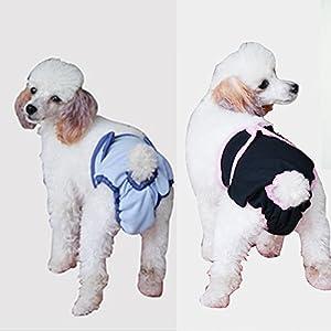 JBY 2psc Hygiène Europe. de pantalon de protection pour chien lavable Animal hundin hundewindeln Belly Wrap Couche sanitaires réutilisable Seuil hundinnen lactique (unterwäche