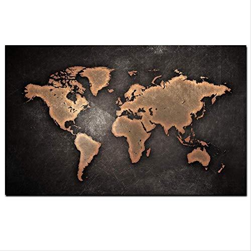 Abstracte 3D wereldkaart Canvas schilderij klassieke zwarte wereldkaart Print foto op Canvas In Office kamer Wall Art decoratie 60 X 90 Cm ingelijste