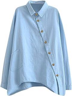 comprar comparacion Camisa de Manga Larga de Las Nuevas Mujeres de algodón Casual Color sólido botón señoras