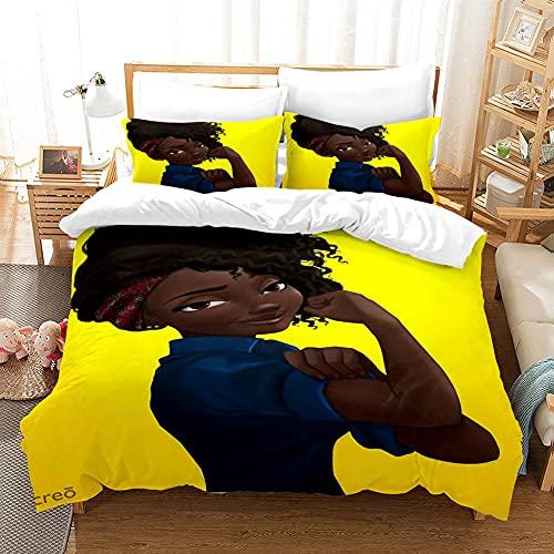 Funda Cama 90, Chica Africana Amarilla, 2 Piezas Juego de Funda nórdica de Microfibra, con 1 Funda de Almohada 50x80 cm, con Cremallera Oculta, para niño Juvenil