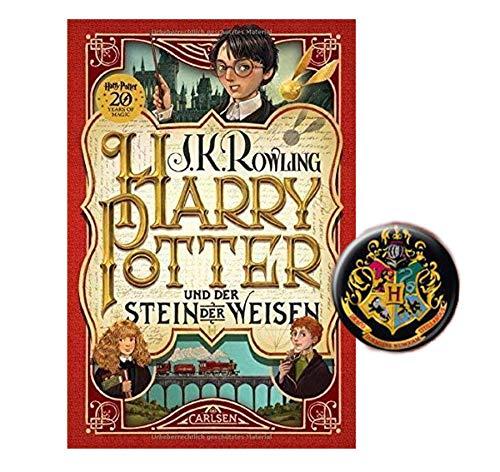 Carlsen Verlag Harry Potter und der Stein der Weisen (1. Band, Gebundene Ausgabe) + 1x original Harry Potter Button