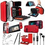 Nintendo Switch Accessoire, Pack de Orzly (Étui rigide pour Switch, Protecteurs d'écran en Verre Trempé, Câble Type C, Coque Comfort Grip, Écouteur, Stylo, Boite de Jeux) POKE (Rouge / Noir / Blanc)