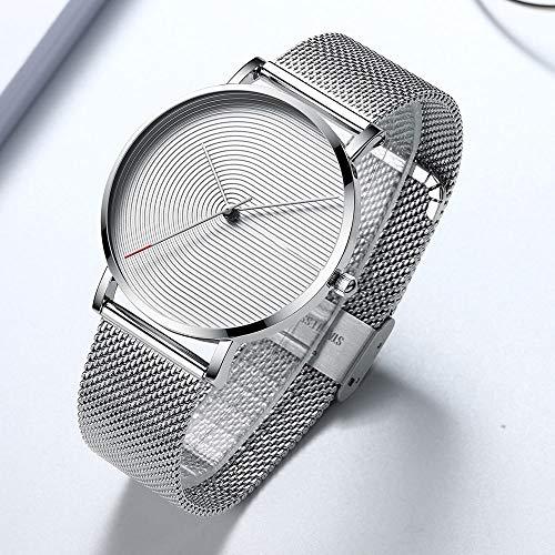 Voigoo Marken-Mann-Uhr-beiläufige Minimalist Quarz-Mann-Uhr-Art- Einfache Silberne weiße wasserdichte Armbanduhr der Männer Geschenke