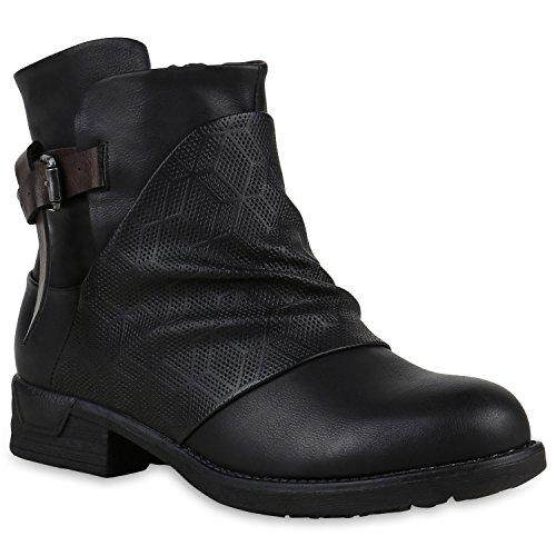 Damen Biker Boots Schnallen Stiefeletten Prints Schuhe 123286 Schwarz Prints 37 Flandell