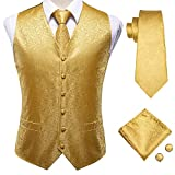 Hi-Tie Men's Gold Paisley Suit Vest and Tie Set Formal 4pc Silk Dress Waistcoat Necktie and Pocket Square Set for Wedding Party or Tuxedo