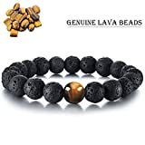 Tiger Eye Lava Stone Diffuser Bracelet Cat Eye Bracelet Genuine Nature Lava Bead Bracelet Durable...
