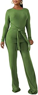 OLUOLIN Women Two Piece Outfits Ribbed Knit Top & Pants Sets Long Sleeve Solid Color Jumpsuit