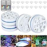 Prevessel Luces de bañera de hidromasaje, luces de estanque impermeables con control remoto (RF) 16 colores RGB LED luces para acuario, florero, jardín, piscina