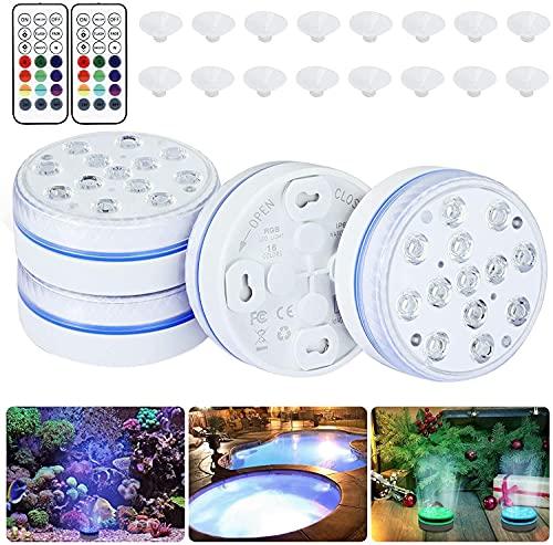 WSTERAO Luces LED sumergibles para Piscinas, Luces subacuáticas para estanques de 16 Colores con Control Remoto, Luces magnéticas Impermeables para la bañera, Luces LED inalámbricas