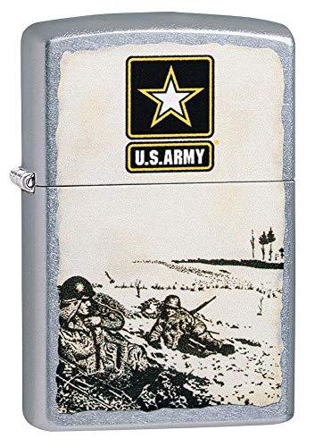 Zippo U.S. Army Battle Scene Street Chrome Pocket Lighter