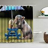 Haoerwu Personalisierter Duschvorhang,Lustiges Humor-Haustier EIN süßes Schwein isst eine Eistüte unter einem Regenschirm,wasserabweisender Badvorhang für das Badezimmer 180 x 180cm
