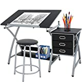 HomGarden Adjustable Drawing Desk Drafting Table Folding Art Craft Table Station w/Stool and 3 Storage Drawers