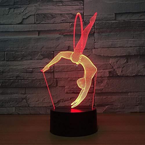 Illusionslampe LED 3D Gym Lampe Yoga 7 Farben Nachtlampen für Kinder Tisch USB LED Touch Lampe Lampe Nachtlicht zum Schlafen Baby
