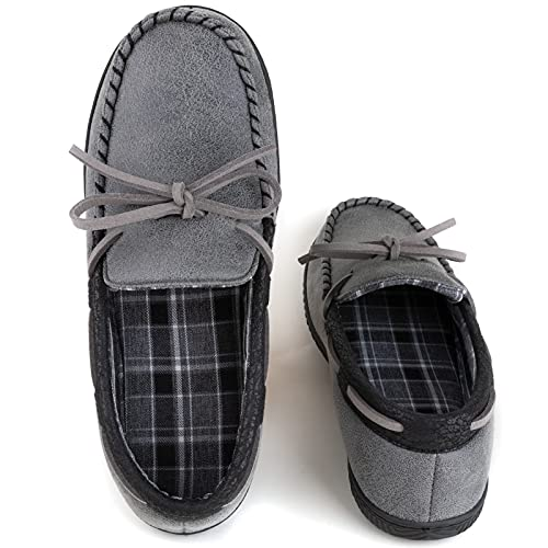 ULTRAIDEAS Men's Cozy Moccasin Memory Foam Slippers with Indoor & Outdoor Rubber Sole,Breathable Closed Back House Shoes,Dark Grey,10