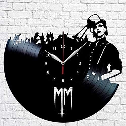 Nigu Horloge murale en forme de disque vinyle pour chambre à coucher Motif Marilyn Manson