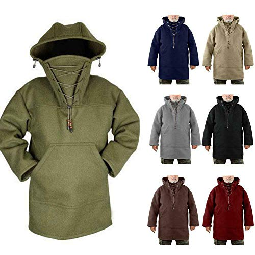 Men's Wool Heavy Coat Pullover, Winter Men'S Leisure Jacket, Pure Color Plus Size (Red-Brown, L)