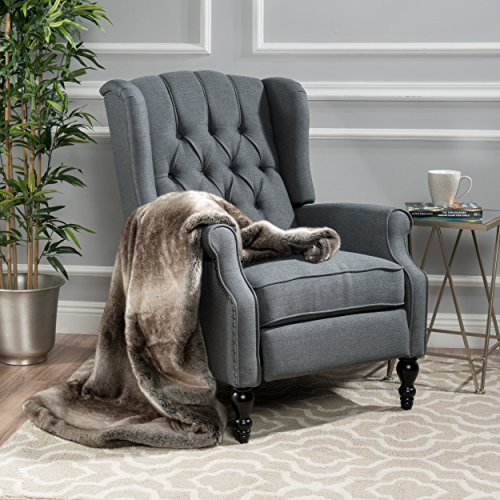 Christopher Knight Home Tufted Accent 299603 Elizabeth Chair, Charcoal Gray, Armchair, Single Recliner, Elegant, Comfortable