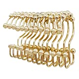 Wivarra Shower Curtain Rings Hook Set of 12, Steel Rust Proof Double Glide Roller with Eight Bathroom Curtain Hook Gold