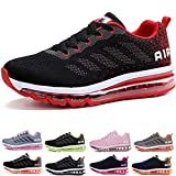 Homme Femme Air Baskets Chaussures Gym Fitness Sport Sneakers Style Running Multicolore Respirante Black Red 45