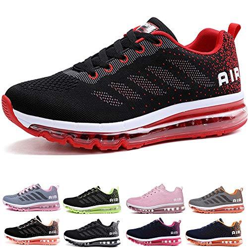frysen Herren Damen Sportschuhe Laufschuhe mit Luftpolster Turnschuhe Profilsohle Sneakers Leichte Schuhe Black Red 44
