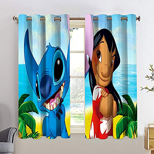 Lilo and Stitch Thermal Insulated Curtains Window Curtains Grommet Top Curtains for Bedroom W55 x L63