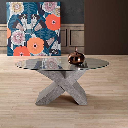 Mocada Tito Tavolino da Salotto in Legno e Cristallo Ovale Soggiorno Design (Cemento)