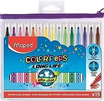 Maped - Feutres Long Life - 15 Feutres de Coloriage Ultra-lavables et Longue Durée - Pointe Moyenne Bloquée - Couleurs...