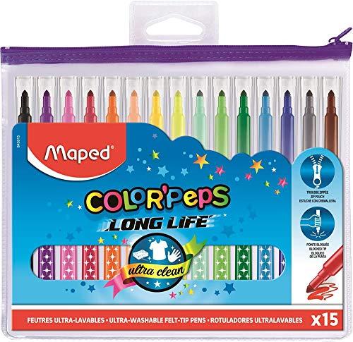 Maped - Feutres Long Life - 15 Feutres de Coloriage Ultra-lavables et Longue Durée - Pointe Moyenne Bloquée - Couleurs Vives - Idéal Fournitures Rentrée Scolaire - Trousse Plastique Zippée