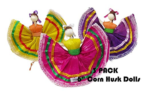 3 Pack 6' Mexican Handmade Corn Husk Tamale Tamal Doll