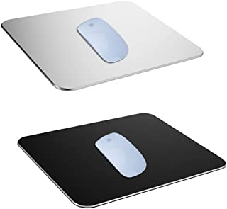 2 Pack Gaming Aluminum Mouse Pad (Silver & Black) Compatible with Magic Mouse, SourceTon Smooth Magic Ultra Thin Double Si...