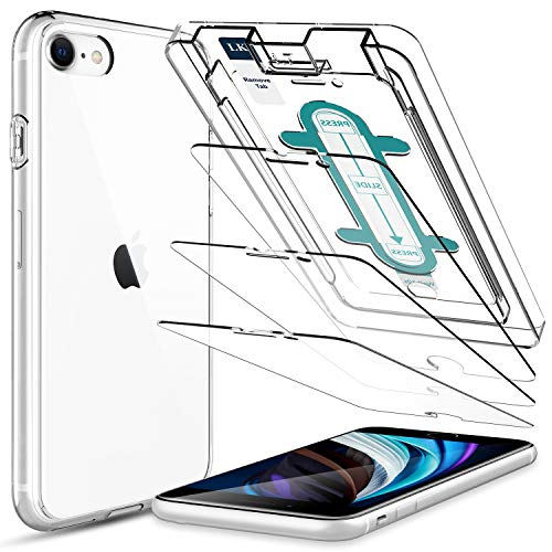 4 Pack LK 3 Pack Screen Protector with 1 Pack Clear Case for iPhone SE 2020 / iPhone SE2 4.7-inch Tempered Glass, Case Friendly, Easy-Installation Tool, HD Clear 9H Hardness