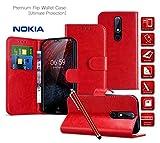 LeaLeather Wallet Phone Case for Nokia 6 2018 Card Holder