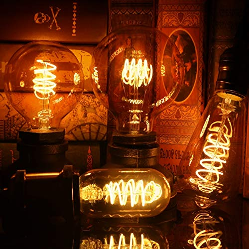 HLIGHT Retro LED Glühwendel Glühlampe 4W 2200K 220V-240V C35 A60 T45 ST64 T185 T225 G80 G95 G125 Vintage-Edison LED-Lampe,7