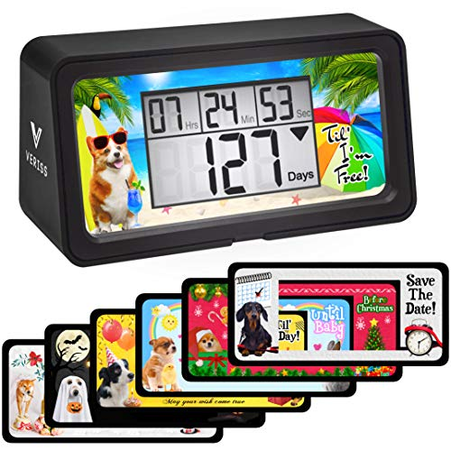 Digital Days Countdown Clock Timer – Count Down Your Retirement, Christmas, Vacation and All Events and Dates in Your Life for up to 10000 Days - Dog Collection (Black - 8 Frames)