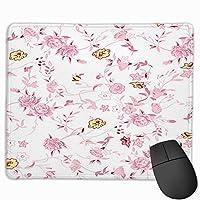 マウスパッド ピンク花柄 Mousepad ミニ 小さい おしゃれ 耐久性が良 滑り止めゴム底 表面 防水 コンピューターオフィス ゲーミング 25 x 30cm