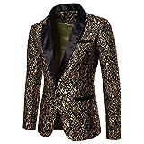 Men's Floral Blazer One Button Peaked Lapel Party Dinner Wedding Dress Suit Jacket Golden