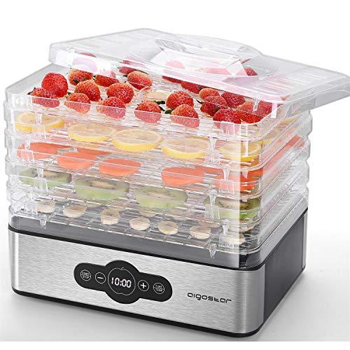 Deshidratador de Alimentos 240W Aigostar Crispy, 5 Bandejas Ajustables, Temperatura Regulable 30 °C-70 °C, Temporizador 0-99 H,Controles Digitales,deshidratador sin bpa