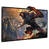 TOPVISION Projector Screen, 120 inches 16:9 HD 4K Foldable Anti-Crease Portable Projector Screen for Home Theater Indoor Outdoor Movie Screen with Peel and Hooks