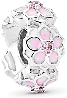 Magnolia Bloom Spacer Charm, Sterling Silver, Pale Cerise Enamel & Pink Cubic Zirconia, One Size