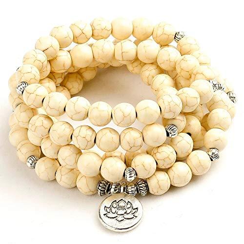 Collar de piedra de Howlita blanca Festival 8mm pulsera con cuentas mujeres hombres Boho Yoga árbol vida encanto hecho a mano joyería Unisex