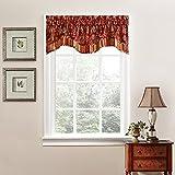 WAVERLY Navarra Floral Pattern Scalloped Window Valance Curtains, 52' x 16', Crimson