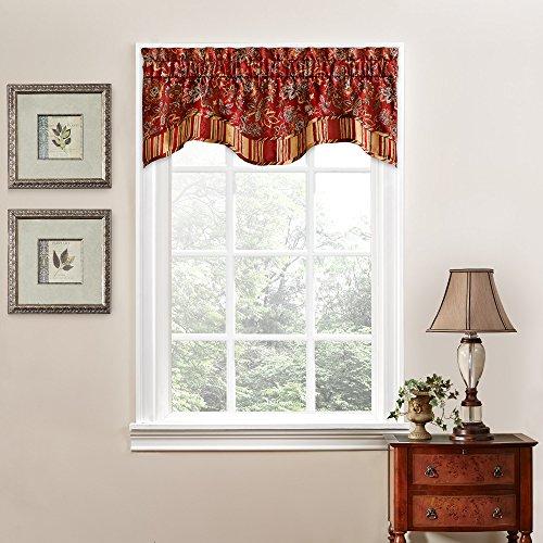 "WAVERLY Navarra Floral Pattern Scalloped Window Valance Curtains, 52"" x 16"", Crimson"