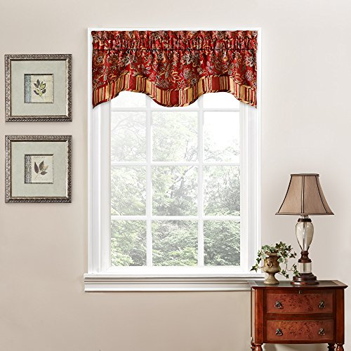 "WAVERLY Navarra Floral Pattern Scalloped Window Valance Curtains, 52"" x 16"", Crimson"