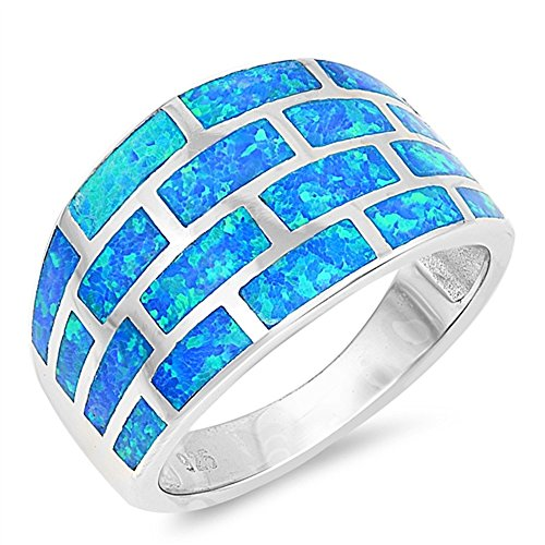 CloseoutWarehouse Blue Simulated Opal Brick Wall Design Ring Sterling Silver Size 8
