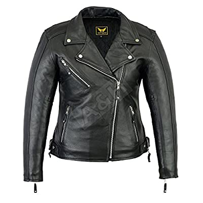 A&H Apparel Womens Motorcycle Leather Jacket Cowhide Casual Leather Jacket Black